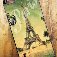 iPhone 4, iPhone 4s, iPhone 5, Samsung Galaxy S3 Cell Phone Case Wood Grain with Paris France Eiffel Tower
