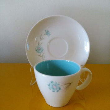 Mid Century Modern Vintage Taylor Smith and Taylor Ever Yours Boutonniere TST Chateau Buffet Flat Cup & Saucer Set CSLM1