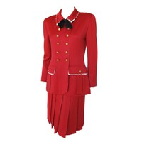 Chanel Red Jacket & Skirt Suit Ensemble w/Lace Trim, CC Logo Buttons & Silk Bow