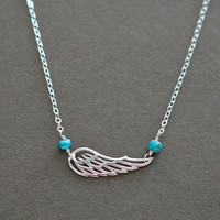 Baby Memorial Jewelry, Angel Wing Necklace Genuine Birthstones, Sterling Silver, Remembrance Loss Gifts