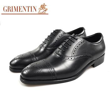 Genuine Leather Men Oxford Shoes Black Lace Up Male Business Wedding Shoes Pointed Toe