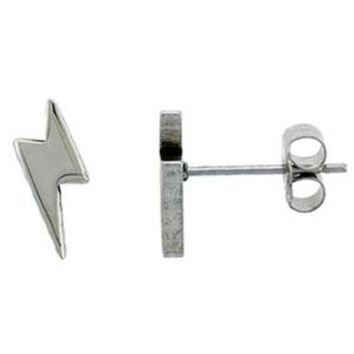 .925 Sterling Silver Lightning Bolt Stud Earrings (13Mm)