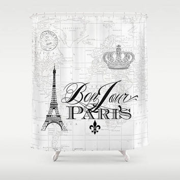 Paris Shower Curtain - map fabric, Bonjour Chic, french, crown, Eiffel Tower - home decor, bathroom, black and white spa bathroom