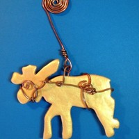 Ornaments, Christmas, Gold Reindeer in Hand Wrapped Copper Harness