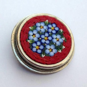 Micro Mosaic Brooch - Vintage Brooch - Floral Brooch - Vintage Jewelry - Micromosaic Jewelry - Micro Mosaic Flowers - Red and Silver Brooch