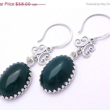 25% OFF STOREWIDE SALE Green Agate & Sterling Silver Gallery Bezel Earrings
