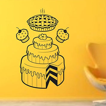 Bakery Cakes Pies and Cupcakes Vinyl Wall Decal Sticker