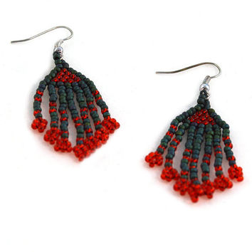 Christmas Earrings Beaded in Red and Green on Hooks or Clip Ons