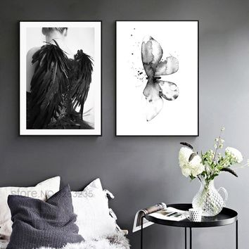 Print Flower Butterfly Nordic Poster Wing Posters And Prints Wall Art Canvas Painting Wall Pictures For Living Room Unframed