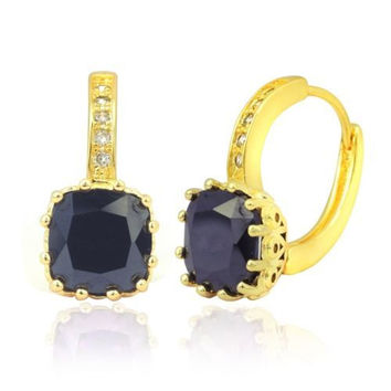 18K Gold Plated Cushion Cut Black Cubic Zirconia Small Hoop Earrings