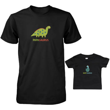 Daddy and Baby Matching T-Shirt Set - Papasaurus, Babysaurus