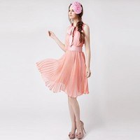 Pleated Flounced Strapless Dress Pink - Designer Shoes|Bqueenshoes.com