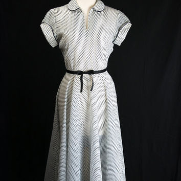 Vintage 1950s Polka-dot Lucy Dress White and Navy Adorable Swing Skirt Cuffed Sleeves