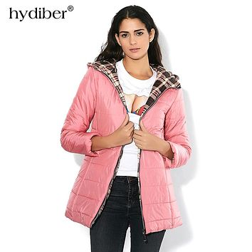 HYDIBER New Brand 2018 Winter Jacket Women Long Hooded Parka Plaid Fabric Interlining Slim Cotton-Padded  Cotton Jacket Coat