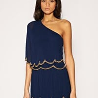 ASOS | ASOS One Shoulder Dress with Scalloped Hem and Bead Embellishment at ASOS