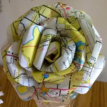 """Hand sculpted paper rose, old road map paper flower, home decor single long stem 4"""" bloom travel theme party, bon voyage,"""