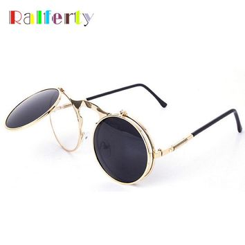 Ralferty Retro Steampunk Googles Vintage Round Flip Up Sunglass Women Clip On Sunglasses Men Metal Punk Sun Glasses Male Oculos