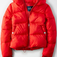AE Short Puffer Jacket, Red