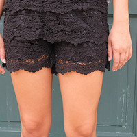 Crochet Lace Shorts in Black