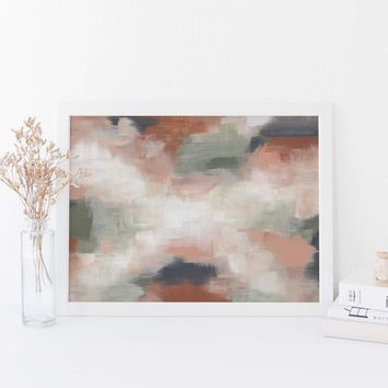 Earthy Neutral Desert Abstract Painting Wall Art Print