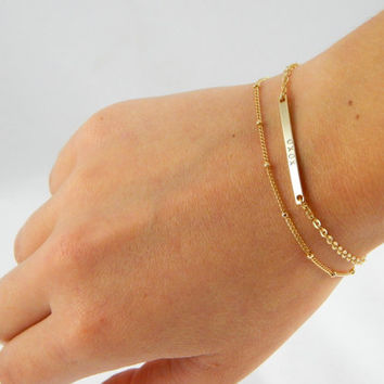 Gold plated duo layer bar satellite bracelet, gold plated bracelet, satellite bracelet, stamped bracelet, gift bracelet