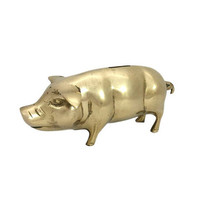 Brass Pig Coin Bank Vintage Animal Figurine Country Farmhouse Rustic Home Accent Office Decor Moneybox Saving Holder Container Kids Nursery