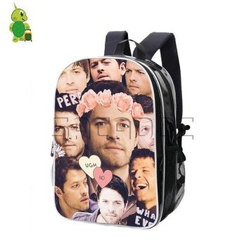 University College Backpack Supernatural Castiel Misha Collins Overlay  Men Women Pu Leather s School Bags  Students Laptop AT_63_4