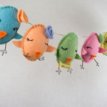 Easter chick handembroidered garland bunting by RawBoneStudio