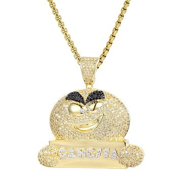 "Yellow Canary Gangsta Emoji Iced Out Pendant 24"" Necklace"