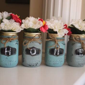 Distressed Mason Jars, Painted Mason Jars,  Blue Mason Jars, Gray Decor, Rustic Jars, Rustic Home Sign, Mason Jar Vase, Rustic Vase,