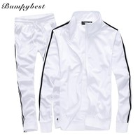 Bumpybeast Mens Track suits 2018 spring Sportswear Men Solid color Tracksuits New Brand White Sportwear Set Zipper Tracksuit 5XL