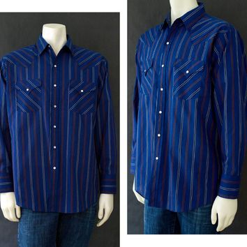 Vintage Western Style Shirt, Plains Men's Button Up, 70s Long Sleeve Shirt, Vintage Blue Stripped Shirt, Size Large, Rockabilly Style