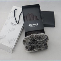 Winter women sheep leather gloves rabbit fur high quality gift box
