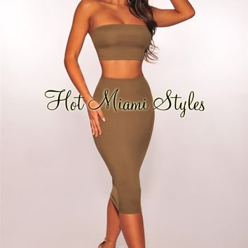Olive Bandeau Two Piece Set