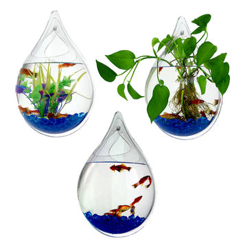 Drop shape Pot Plant Wall Mounted Hanging Bubble Bowl Fish Tank Aquarium Home
