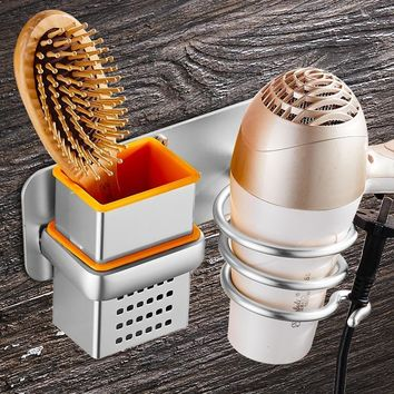 Multi-Purpose Wall Mounted Bathroom Rack and Hair Dryer Holder