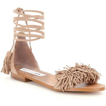 Steve Madden Sweetyy Lace-Up Fringe Sandals | Dillards
