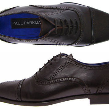 Paul Parkman Men's Oxford Dress Shoes Dark Brown Leather Upper & Leather Sole