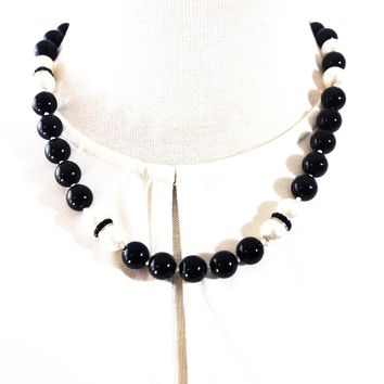 Black and White Glass Pearls Beaded Necklace