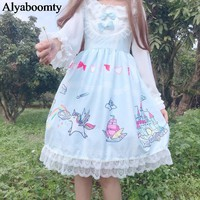 Japanese Women Sleeveless Lolita Style Princess Dress Suspenders Anime Print Cute Kawaii Dress Pink Blue Bow Lace Ruffles Dress