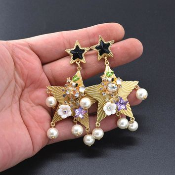 5 Style Luxury Statement Bee Flower Owl Bird Pearl Star Earrings For Women Palace Baroque Drop Earrings Trendy Jewelry