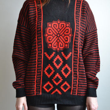 80s geometic knit OVERSIZED sweater // slouchy chunky knit red black striped CONTRAST abstract filigree knit hipster ugly sweater top