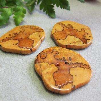 CLEARANCE 3 Unique Spalted Tamarind  Large Buttons Exotic Woods Large Handmade ExoticWoodJewelryAnd Ecofriendly repurposed