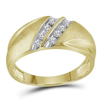 10kt Two-tone Yellow Gold Men's Round Diamond Band 2-Row Wedding Ring 1/4 Cttw - FREE Shipping (US/CAN)