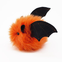 Luna the Bat Orange Fluffy Stuffed Toy Halloween Plushie