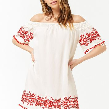 Embroidered Floral Off-the-Shoulder Dress