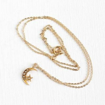 Antique 14k Rosy Yellow Gold Crescent Moon & Star Pearl Pendant Necklace - Vintage Ear