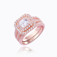 New Arrival Solid 925 Sterling Silver Rose Gold Plated Wedding Ring Bridal Sets Engagement Band Royal Design Sapphire Jewelry