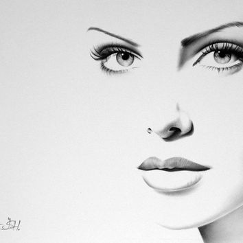 Charlize Theron Pencil Drawing Fine Art Print Portrait Signed by Artist