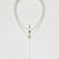 AEO Layered Charms Necklace , Silver